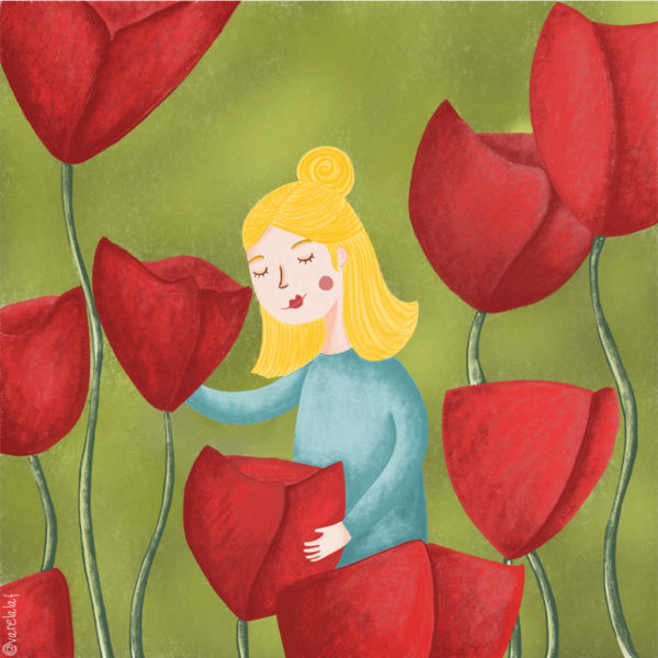 Nena amb roselles